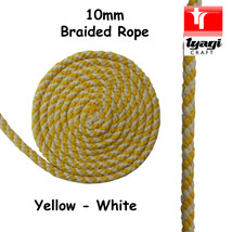 10mm Yellow White Braided Cotton Rope 100% Natural Soft 8 Strand Craft D... - $2.82+