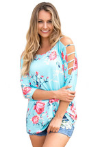 Blue Cold Shoulder Floral Blouse  - $17.55