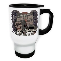 Americana Born to Ride Route 66 Skull Car White/Steel Travel 14oz Mug x794t - $17.79