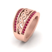 Intertwined Design Engagement Ring Band In Solid 14k Rose Gold Bridal Jewelry  - $1,579.99