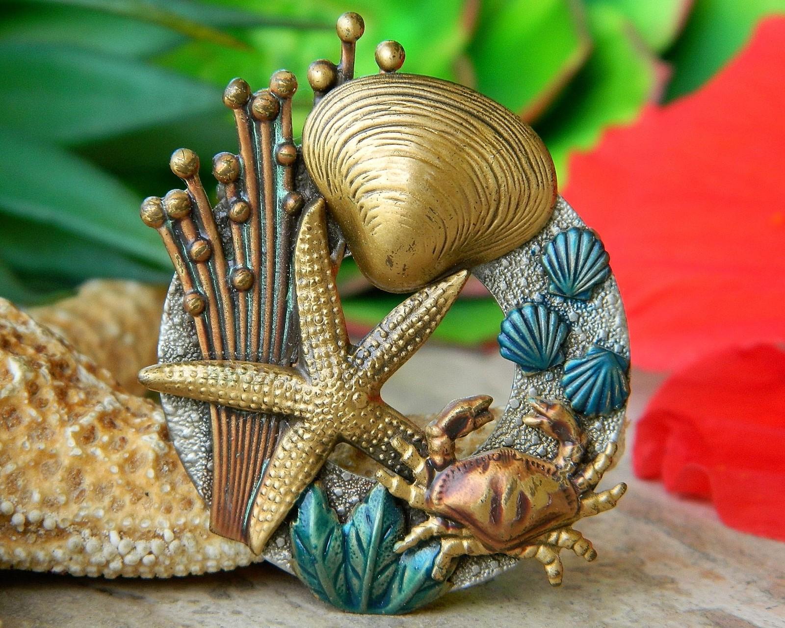 Vintage Crab Starfish Shell Brooch Pin Ocean Tropical Sea Enamel Metal