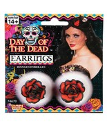Day of the Dead Rose Earrings, Halloween Fancy Dress Party Costume Acces... - $3.95