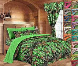 Biohazard Green King size sheets and pillowcases Woods Camo (6 pc sheet ... - $32.70