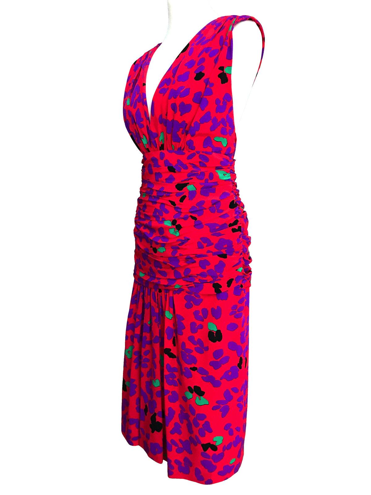 80s Jean-Louis SCHERRER French Vtg 100% Silk Deep V-Neck Cross Over Back Dress