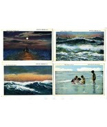 4 Avon By The Sea New Jersey Postcards 1937  Sailing Surf Ocean - $17.87