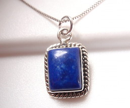 Lapis Rectangle with Rope Style Accents 925 Sterling Silver Necklace - $364,88 MXN