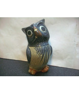 HVY OWL HAND PAINTED & SIGNED MEXICO CLAY POTTERY BIRD STATUE FIGURE TER... - $12.00