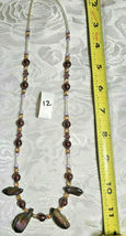 "Purple Amethyst Glass and Volcanic Rock Beaded Necklace 22""           (#12) image 3"