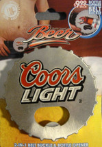 Coors Light BEER BOTTLE CAP DESIGN BELT BUCKLE AND bottle OPENER NEW - $3.98