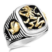 Bavarian Lion Knight Signet    sterling silver mens  ring lge. - $60.00