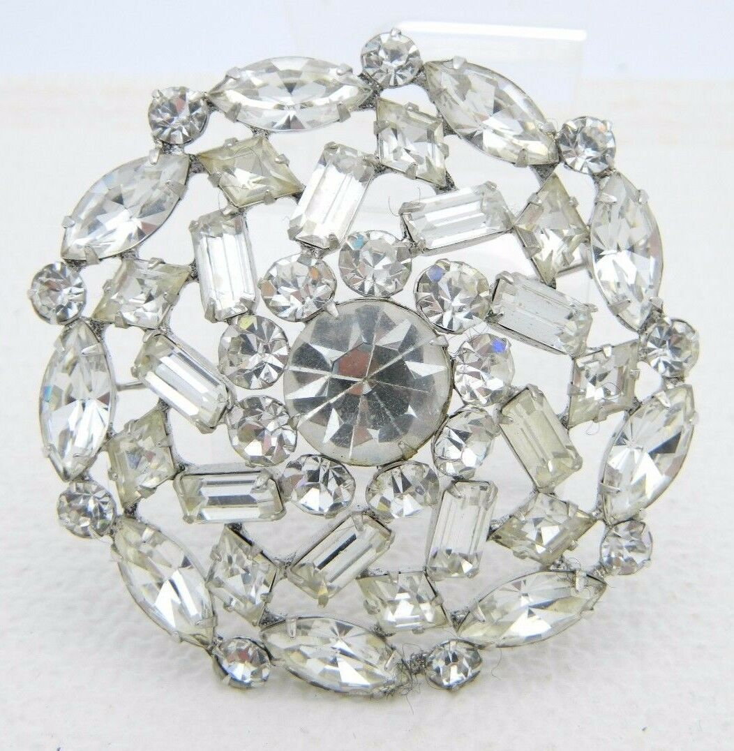 Primary image for VTG Large Silver Tone Clear Rhinestone Flower Wedding Bridal Pin Brooch