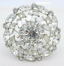 VTG Large Silver Tone Clear Rhinestone Flower Wedding Bridal Pin Brooch - $99.00
