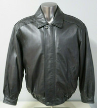 Mens Members Only Leather Jacket Black Size Large L Polyester Lined Moto... - $59.39