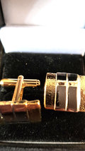 gold cufflinks striped with diamond cut brushed and shiny design,  in gift box image 2