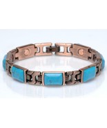 PURE COPPER MAGNETIC TURQUOISE LINK BRACELET  womens STYLE#TQ-R  jewelry... - $12.30