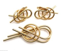 Signed Sarah Coventry Modern Twist Brooch Ears Vintage Book Piece Gold 1... - $29.78