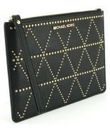 Michael Kors Clutch Wristlet Bag Black Studded Pebbled Leather Adele - $144.17