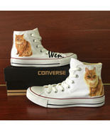 Cute Cat Pet Design Custom Converse for Man Woman Hand Painted Canvas Sn... - $175.00