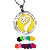 HooAMI Fox Round Aromatherapy Essential Oil Diffuser Necklace Pendant Lo... - $19.89