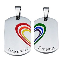 LGBT Necklace, Dog Tags, Rainbow Pendants, 2 Piece Set, 2 Chains Included - $8.59