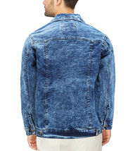 Men's Classic Distressed Casual Button Up Stretch Jean Trucker Denim Jacket image 12