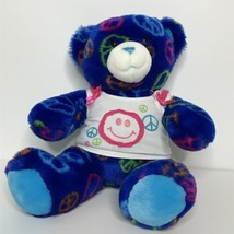 "Build A Bear 11"" Tall Sitting Bear Plush Stuffed Animal Peace Signs Shir... - $28.70"