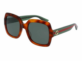 Gucci HerItage WEB Square Havana Green Glitter Sunglasses GG0036S 003 54... - $197.99