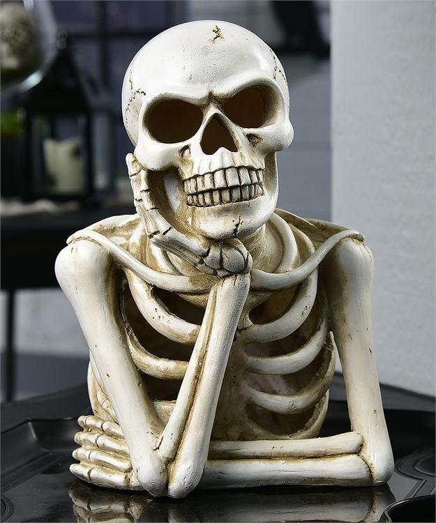 "9.8"" Skeleton Torso Figurine w Rugged Textural Detailing Halloween Table Decor"
