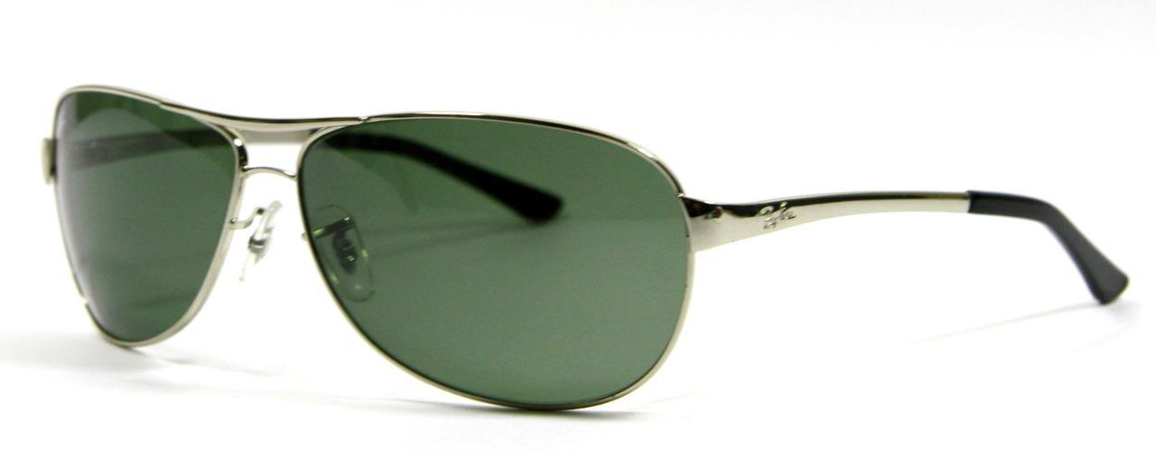 Primary image for Very Rare Ray Ban 3342 003 Silver Sunglasses Green Lens 62mm New and Authentic