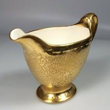 Homer lauglin gold creamer Vtg 22kt gold handpainted embossed flowers - $25.01