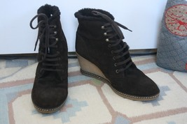 J. Crew 9 Dark Brown MacAlister Shearling Fur Wedge Heel Ankle Boots Italy - $53.20