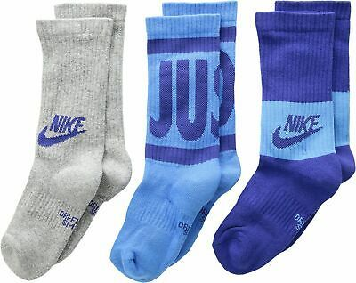 Nike Boys 3PK Performance Training Crew Socks Small 3Y-5Y SX6839-943