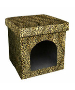 """Collapsible mini Pet House / Dog Bed, Leopard Patterned Design 15.75"""" H. - $51.43"""
