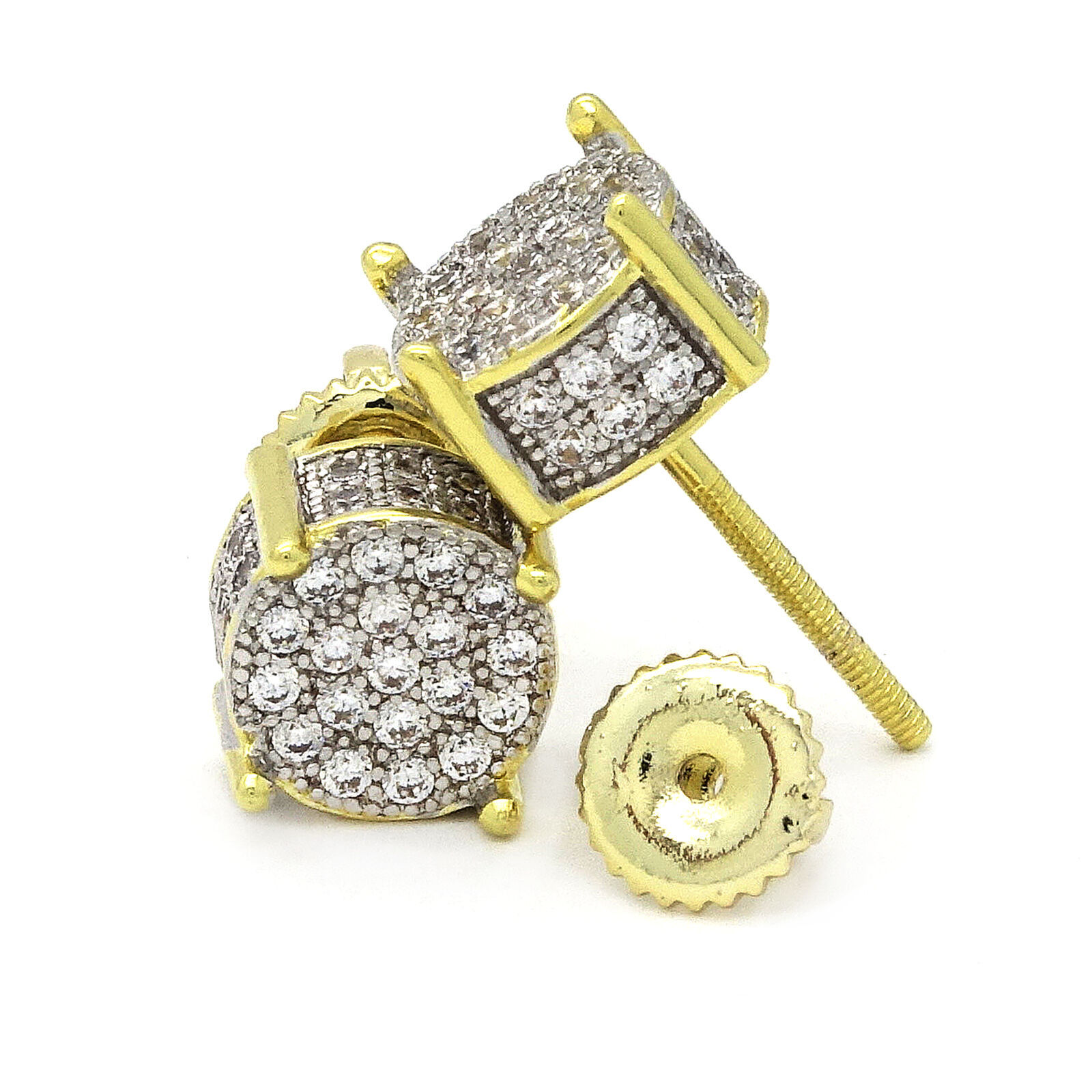 2.10Ct Round Cut VVS1/D Diamond Cluster Hip Hop Earrings 14k Yellow Gold Over