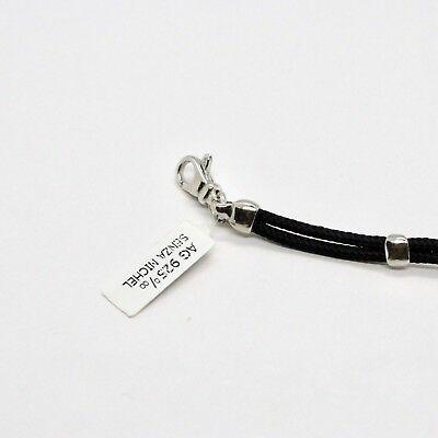 Armband 925 Silber Rhodium mit Platte mit Fahrrad Graviert und Seil 18 CM