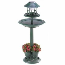 Green Finish Solar Lantern Bird Bath Feeder Outdoor Planter Garden Decor... - $90.98