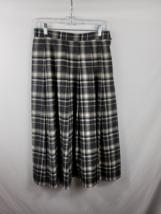 Vtg. Miss Pendleton Pleated Virgin Wool Skirt Black Gray Plaid Women's S... - $19.79