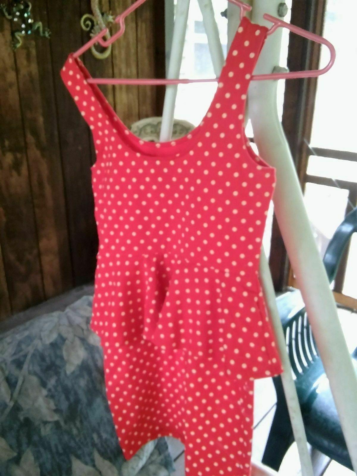 Womens FOREVER 21 Red Polka Dot Dress Sleeveless M Cotton Spandex EUC