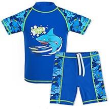 TFJH E Teen Boys Two Piece Swimsuit UPF 50+ UV Sun Block Short Sleeve Be... - $21.80