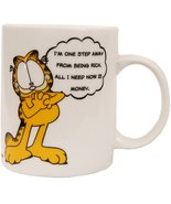 Garfield Cartoon Cat Im One Step Away From Being Rich Ceramic Mug Cup Ne... - $9.00