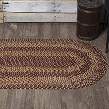 "Classic Country Primitive Flooring - Burgundy Tan Jute Red Rug, 2'3"" x 4' - $31.72"