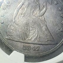 1842 Seated Liberty Silver Dollar Coin AU Details Lot A 106 image 5