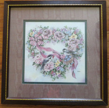 Home Interiors and Gifts Chickadee and Flowers Heart Wreath Picture Leisha - $10.00