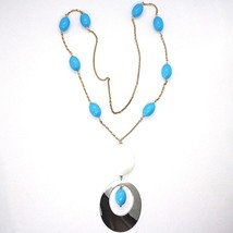 925 Silver Necklace Pink, Agate White Crimped, Turquoise, Oval Pendant, 75 cm image 2
