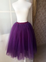 Women High Waisted Tulle Skirt Purple A Line Midi Tulle Skirt Prom Party Skirts