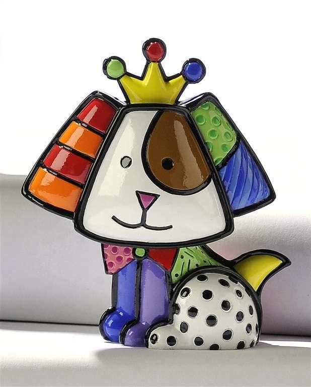 Romero Britto Mini Dog 3 Dimensional Crown Royalty Figurine #331387
