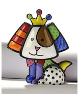 Romero Britto Mini Dog 3 Dimensional Crown Royalty Figurine #331387 - $49.49