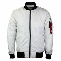 Contender Men's Premium Water Resistant Padded Zip Up Flight Bomber Jacket White