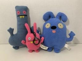 UglyDolls lot 3 plush toys small Wippy keychain Tub Nubury Fea Bea blue ... - $13.85