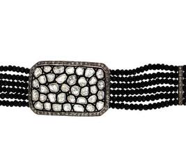 Black Spinel Beaded Bracelet .925 Silver Rose Cut Diamond Pave 14 K Gold... - $1,295.58